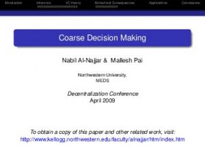 Coarse Decision Making