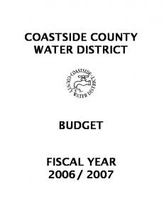 COASTSIDE COUNTY WATER DISTRICT BUDGET