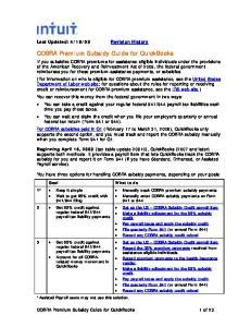 COBRA Premium Subsidy Guide for QuickBooks