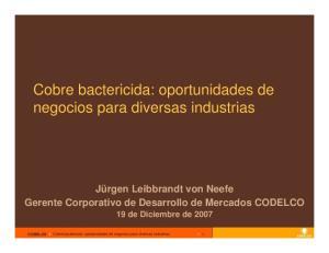 Cobre bactericida: oportunidades de negocios para diversas industrias