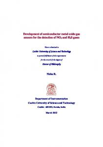 Cochin University of Science and Technology. Doctor of Philosophy. Department of Instrumentation Cochin University of Science and Technology