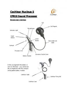 Cochlear Nucleus 5. CP810 Sound Processor. Simple User Interface