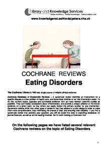 COCHRANE REVIEWS. Eating Disorders