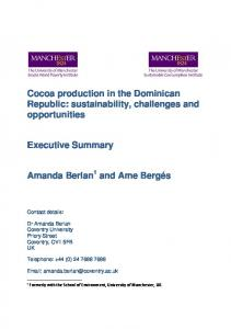 Cocoa production in the Dominican Republic: sustainability, challenges and opportunities