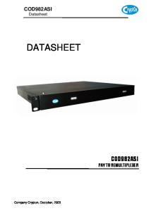 COD982ASI Datasheet DATASHEET COD982ASI PAY TV REMULTIPLEXER