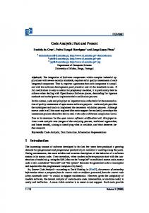 Code Analysis: Past and Present