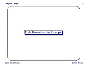 Code Generation: An Example