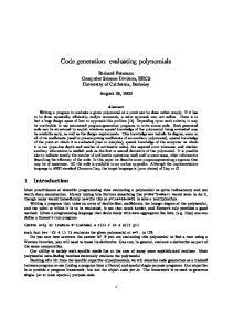 Code generation: evaluating polynomials