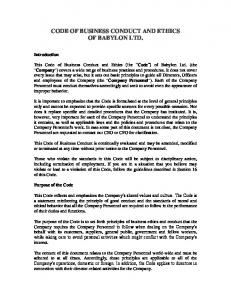 CODE OF BUSINESS CONDUCT AND ETHICS OF BABYLON LTD