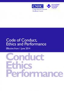 Code of Conduct, Ethics and Performance. Effective from 1 June Conduct Ethics Performance