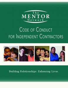 Code of Conduct. for Independent Contractors. Building Relationships. Enhancing Lives