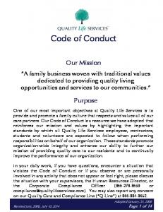 Code of Conduct. Our Mission
