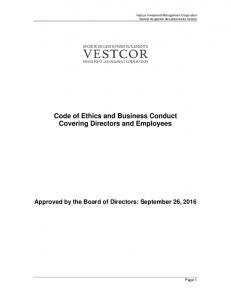 Code of Ethics and Business Conduct Covering Directors and Employees