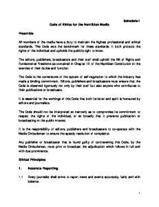Code of Ethics for the Namibian Media