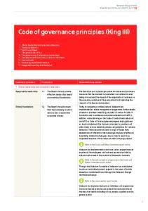 Code of governance principles (King III)