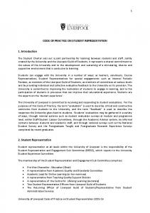 CODE OF PRACTICE ON STUDENT REPRESENTATION