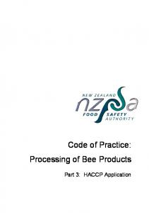 Code of Practice: Processing of Bee Products