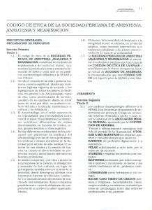 CODIGO DE ETICA DE LA SOCIEDAD PERUANA DE ANESTESIA, ANALGESIA Y REANIMACION
