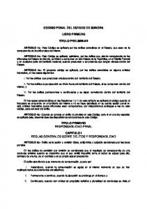 CODIGO PENAL DEL ESTADO DE SONORA LIBRO PRIMERO TITULO PRELIMINAR