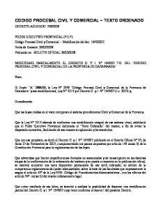 CODIGO PROCESAL CIVIL Y COMERCIAL ~ TEXTO ORDENADO