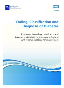 Coding, Classification and Diagnosis of Diabetes