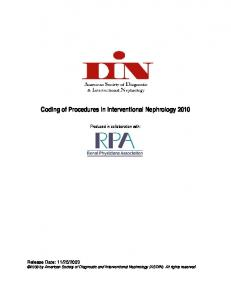 Coding of Procedures in Interventional Nephrology 2010
