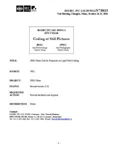 Coding of Still Pictures