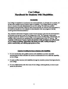 Coe College Handbook for Students with Disabilities