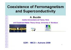 Coexistence of Ferromagnetism and Superconductivity