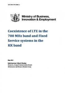 Coexistence of LTE in the 700 MHz band and Fixed Service systems in the KK band