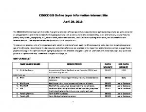 COGCC GIS Online Layer Information-Internet Site. April 29, 2013