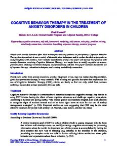 COGNITIVE BEHAVIOR THERAPY IN THE TREATMENT OF ANXIETY DISORDERS IN CHILDREN