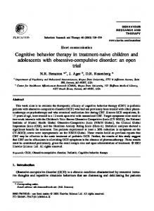 Cognitive behavior therapy in treatment-naive children and adolescents with obsessive-compulsive disorder: an open trial