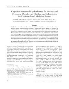 Cognitive-Behavioral Psychotherapy for Anxiety and Depressive Disorders in Children and Adolescents: An Evidence-Based Medicine Review