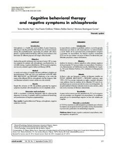 Cognitive behavioral therapy and negative symptoms in schizophrenia