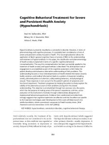 Cognitive-Behavioral Treatment for Severe and Persistent Health Anxiety (Hypochondriasis)