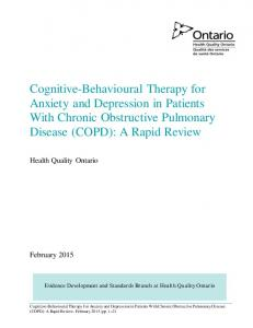Cognitive-Behavioural Therapy for Anxiety and Depression in Patients With Chronic Obstructive Pulmonary Disease (COPD): A Rapid Review