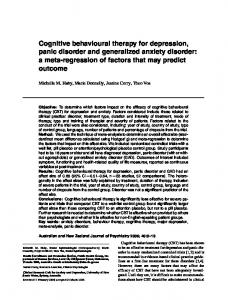 Cognitive behavioural therapy for depression, panic disorder and generalized anxiety disorder: a meta-regression of factors that may predict outcome