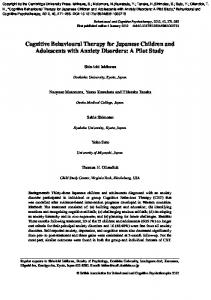 Cognitive Behavioural Therapy for Japanese Children and Adolescents with Anxiety Disorders: A Pilot Study