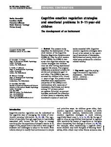 Cognitive emotion regulation strategies and emotional problems in 9 11-year-old children