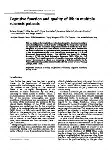 Cognitive function and quality of life in multiple sclerosis patients