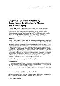 Cognitive Functions Affected by Scopolamine in Alzheimer s Disease and Normal Aging
