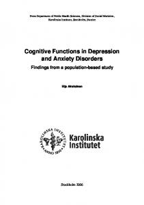 Cognitive Functions in Depression and Anxiety Disorders