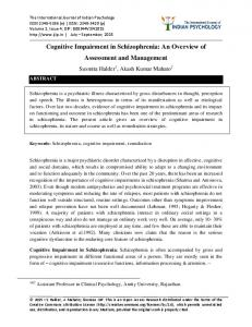 Cognitive Impairment in Schizophrenia: An Overview of Assessment and Management