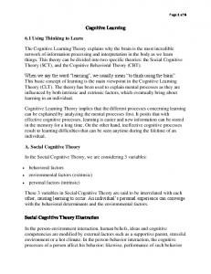 Cognitive Learning. 6.1 Using Thinking to Learn