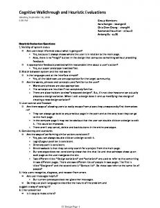 Cognitive Walkthrough and Heuristic Evaluations