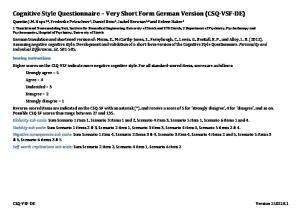 Cognitive)Style)Questionnaire) )Very)Short)Form)German)Version)(CSQ9VSF9DE))
