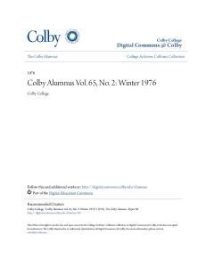 Colby Alumnus Vol. 65, No. 2: Winter 1976