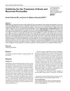 Colchicine for the Treatment of Acute and Recurrent Pericarditis