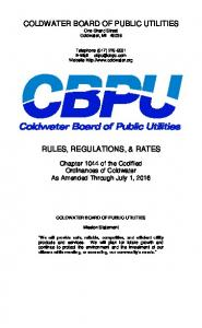 COLDWATER BOARD OF PUBLIC UTILITIES One Grand Street Coldwater, MI RULES, REGULATIONS, & RATES